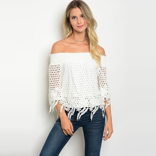 Shop The Trends Women's 3/4 Sleeve Off Shoulder Top With Allover Crochet Lace Details