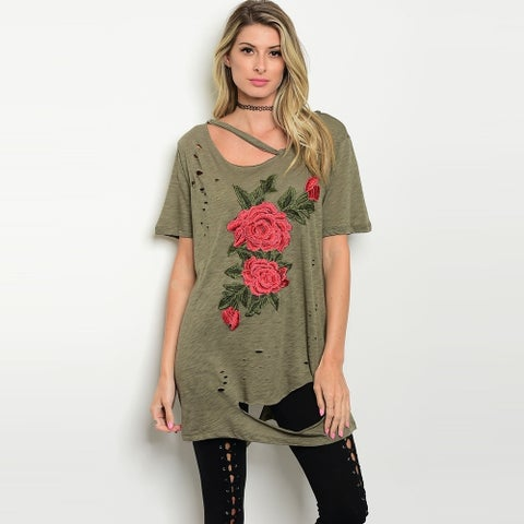 Shop The Trends Women's Short Sleeve Distressed Top With Floral Patch Detail