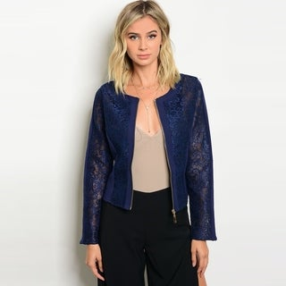 Shop The Trends Women's Long Sleeve Lace Crop Jacket With Front Zipper Closure (4 options available)