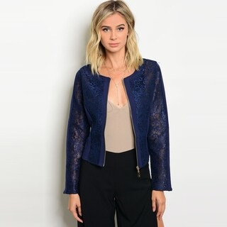 Shop The Trends Women's Long Sleeve Lace Crop Jacket With Front Zipper Closure