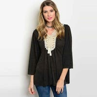 Shop The Trends Women's 3/4 Flutter Sleeve Knit Top With Crochet Front Detail
