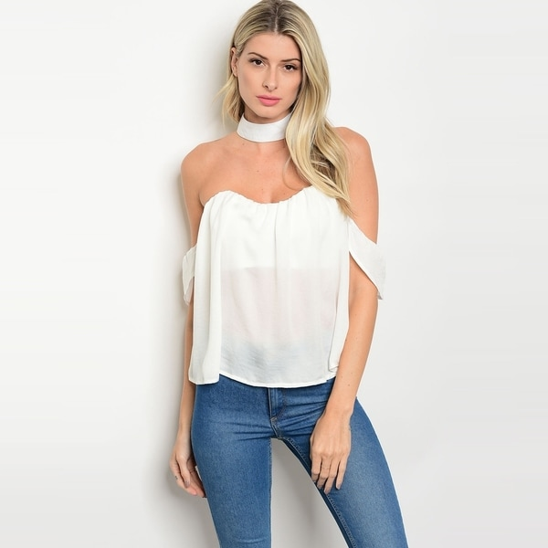 e70de9f370ffe4 Shop The Trends Women  x27 s Sleeveless Off Shoulder Top With Choker  Neckline