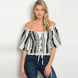 Shop The Trends Women's Short Sleeve Off Shoulder Striped Top With Lace Up Front