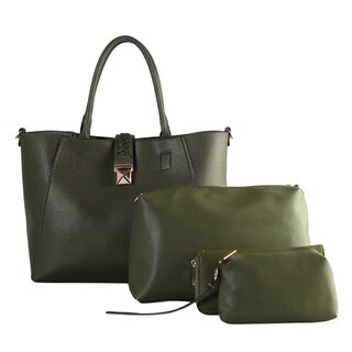 Diophy PU Leather Large Fashion Tote 4 Pieces Set