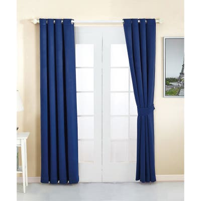 Serenta 4 Piece Grommet Darkening Thermal Insulated Blackout Window Panel Curtain Set, 2 Curtains and 2 Back Ties
