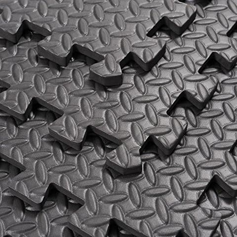 """Soozier Exercise Interlocking Protective Flooring with Shock Absorbing Material, 24"""" x 24"""" x 0.4"""" Tiles, Black Diamond"""