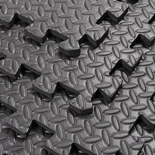 Soozier Exercise Interlocking Protective Gym Flooring Tiles - Black