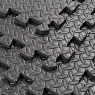 """Link to Soozier Exercise Interlocking Protective Flooring with Shock Absorbing Material, 24"""" x 24"""" x 0.4"""" Tiles, Black Diamond Similar Items in As Is"""