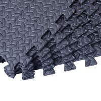 Soozier Exercise Interlocking Protective Gym Flooring Tiles - Black