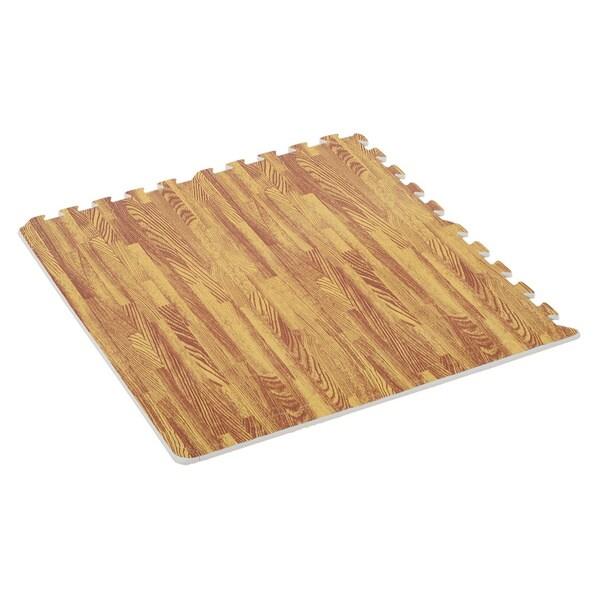 """Soozier 18 Piece 24"""" x 24"""" High-Density Water Resistant Interlocking Foam Floor Tile Mats 72Sqft- Dark Wood Grain. Opens flyout."""