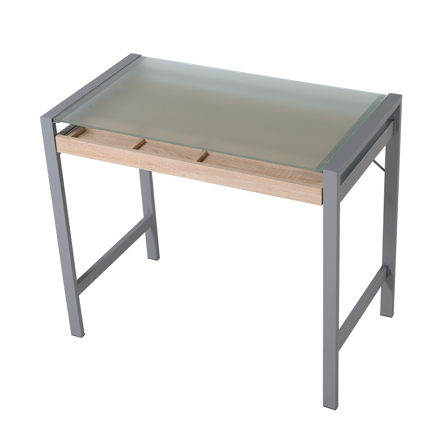 HomCom Modern Wood Steel Frosted Glass Computer Desk Writing Table with  Drawer