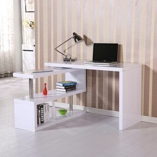 HOMCOM Rotating Office Desk and Shelf Combo - White