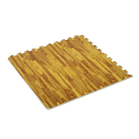 Soozier Interlocking Puzzle Foam Floor Tile Mats - light wood