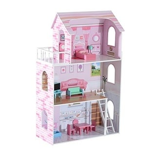 Qaba Three Floor Wooden Dollhouse Cottage with Furniture