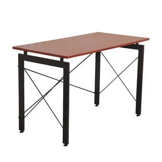"HomCom 48"" Simple Late Modern Home Office Desk Writing Workstation - Chestnut Brown / Black"