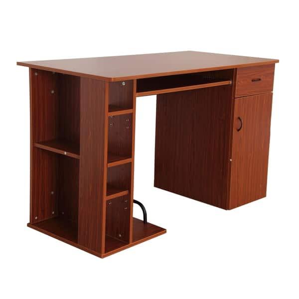 Shop Homcom 47 In Compact Modern Home Office Desk With Shelving Storage Brown Golden Oak Overstock 18019821