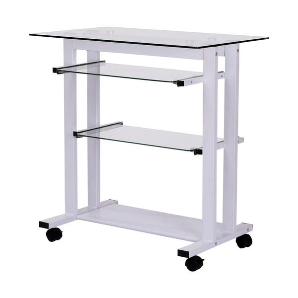 """HomCom 33"""" Contemporary Glass Top Portable Workstation Desk Cart With Shelves - White"""
