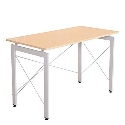 """HomCom 48"""" Simple Late Modern Home Office Desk Writing Workstation - Natural / White"""