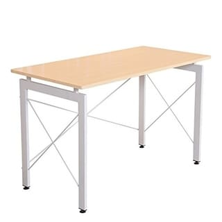 "HomCom 48"" Simple Late Modern Home Office Desk Writing Workstation - Natural / White"
