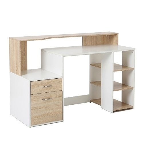 Office desk with drawers Modern Shop Homcom 55 In Multi Shelf Modern Home Office Desk With Shelves Drawers Light Oak White Free Shipping Today Overstockcom 18019826 Overstock Shop Homcom 55 In Multi Shelf Modern Home Office Desk With Shelves