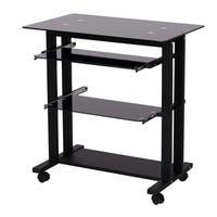 """HomCom 33"""" Contemporary Glass Top Portable Workstation Desk Cart With Shelves - Black"""