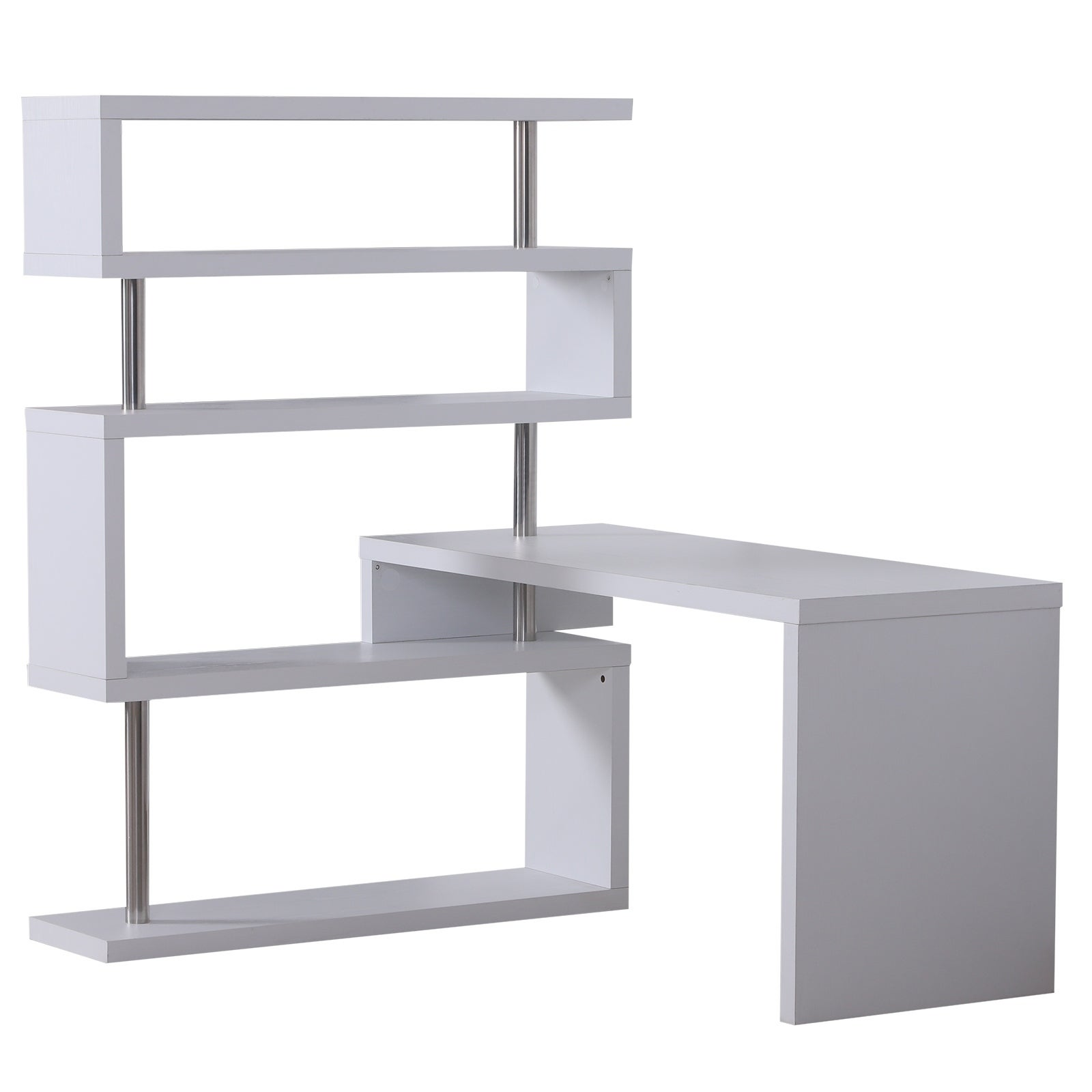 Image of: Shop Black Friday Deals On Homcom 94 In White Modern L Shaped Computer Desk Overstock 18019829