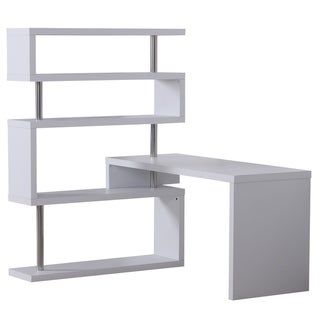 HomCom 94 in Modern Corner Rotating Combo L-Shaped Computer Desk With 4 Storage Shelves - White