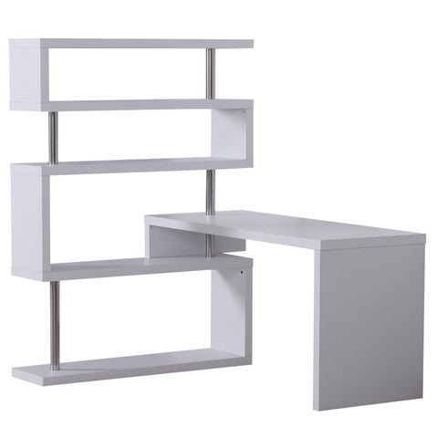 HomCom 94 Modern Corner Rotating Combo L-Shaped Computer Desk With 4 Storage Shelves - White