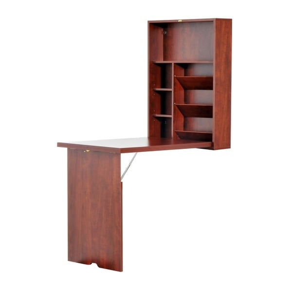 HomCom Compact Fold Out Wall Mounted Convertible Workstation Desk With  Storage   Mahogany