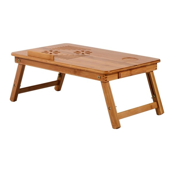 "Shop HomCom 22"" Adjustable Wooden Folding Bamboo Laptop Bathtub Tray ..."