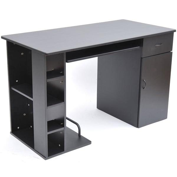 Compact home office desks Rustic Farmhouse Homcom 47 In Compact Modern Home Office Desk With Shelving Storage Black Neginegolestan Shop Homcom 47 In Compact Modern Home Office Desk With Shelving