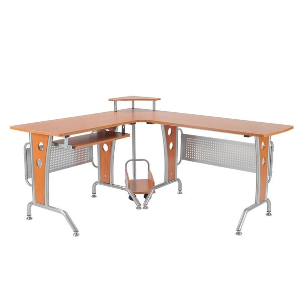 HomCom 67 in Modern Corner L-Shaped Computer Desk With Keyboard Tray