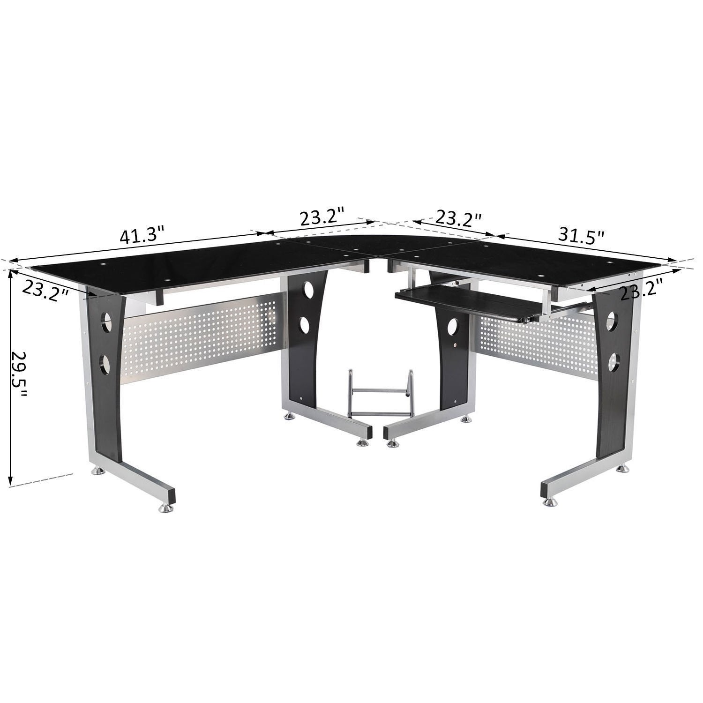 Picture of: Homcom Modern L Shaped Glasstop Office Workstation Computer Desk Overstock 18019841