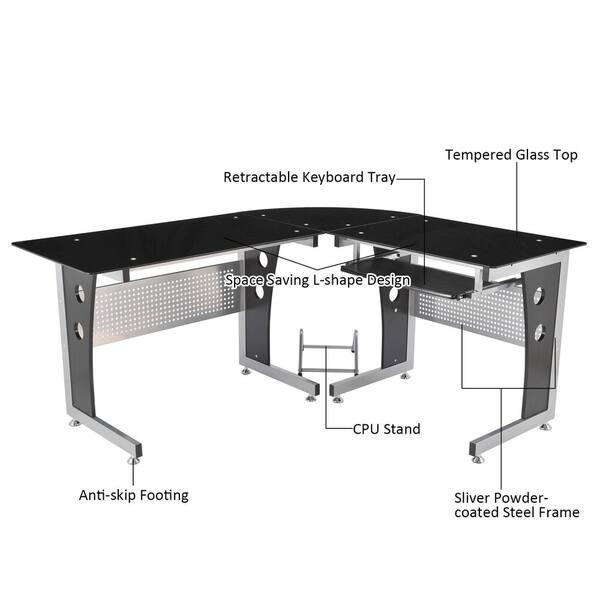 Shop HomCom Modern L-Shaped Glasstop Office Workstation ...