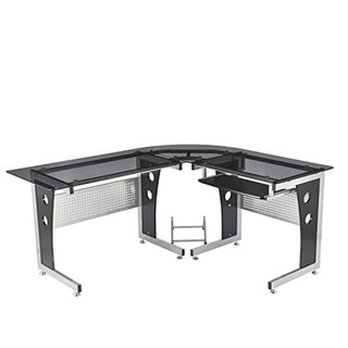 HomCom Modern L-Shaped Glasstop Office Workstation Computer Desk