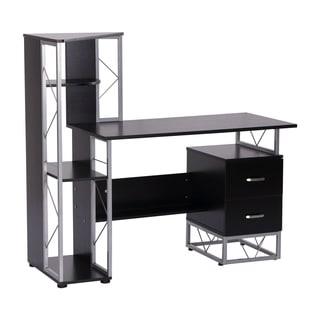 HomCom 52 in Multi Level Computer Workstation Desk Tower Shelves - Black