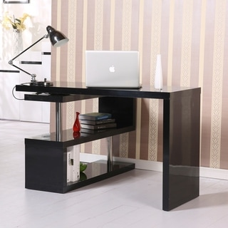 "HomCom 75"" Modern Corner Rotating Combo L-Shaped Computer Desk With 2 Storage Shelves"