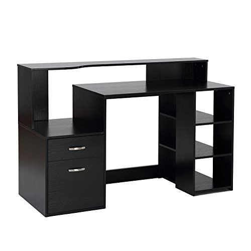 home office drawers.  Home HomCom 55 In Multi Shelf Modern Home Office Desk With Shelves Drawers   Black And Home Office Drawers
