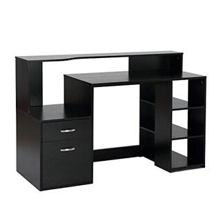 HomCom 55 in Multi Shelf Modern Home Office Desk With Shelves Drawers - Black