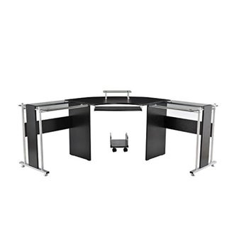 "HOMCOM 69"" Modern L-Shaped Smoked Glass Top Computer Desk"