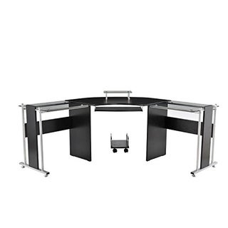HomCom Black Glasstop/Steel L-shaped Office Workstation