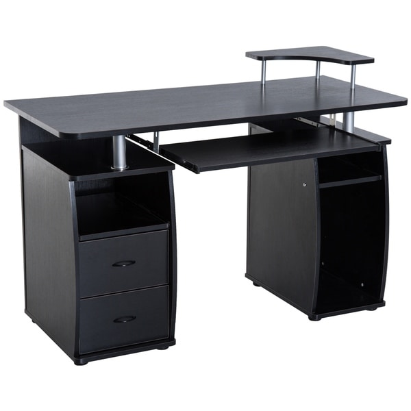 Shop Homcom 48 In Multi Level Computer Desk With Shelves And Rolling