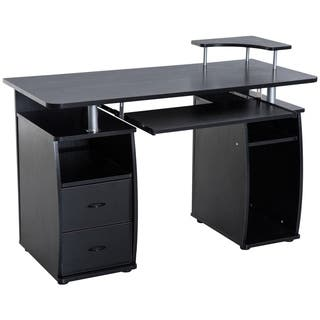 Homcom 48 In Multi Level Computer Desk With Shelves And Rolling Keyboard Tray Black