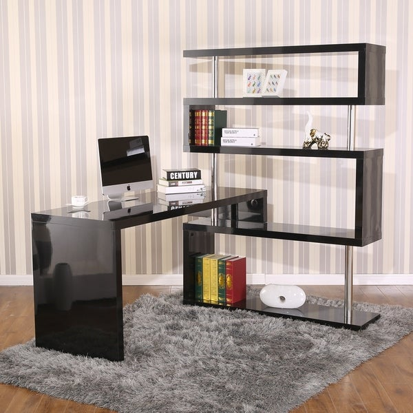 HomCom Rotating Home Office Corner Desk And Shelf Combo