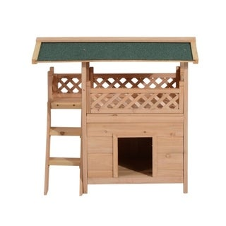 Pawhut Indoor and Outdoor Wood Dog House Shelter with Roof