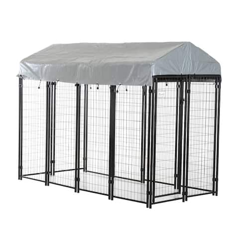 """Pawhut 97""""' x 46"""" x 72"""" Large Outdoor Dog Kennel Galvanized Steel Fence with UV-Resistant Oxford Cloth Roof and Lock"""