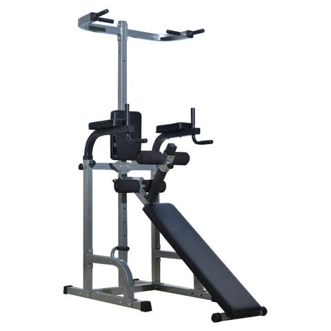 Soozier Full Body Power Tower Home Fitness Station with Sit Up Bench - gray