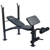Soozier Incline and Flat Exercise Free Weight Bench with Curl Bar and Leg Extension - Black