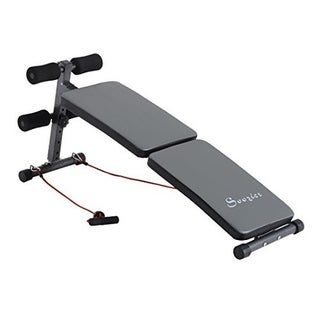 Soozier Adjustable Folding Ab Decline Sit Up Bench With Resistance Bands - gray
