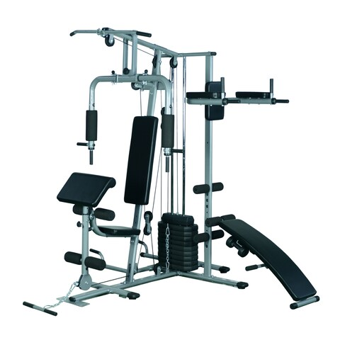 Soozier Complete Home Fitness Station Gym Machine with Weight Stack - Silver